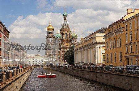 Canal et Sauveur sur la sang répandu cathédrale, Saint-Pétersbourg, Russie