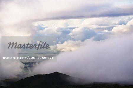 Clouds Over Farmland, Mt Haleakala, Maui, Hawaii, USA