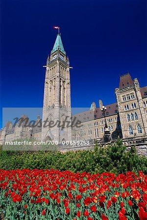 Le tour de la paix et les édifices du Parlement, colline du Parlement, Ottawa, Ontario, Canada