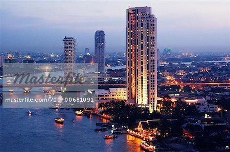 Skyline and Chao Phraya River, Bangkok, Thailand