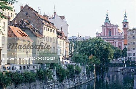 Maisons de Slovénie, Ljubljana, le long de la rivière Ljubjanica