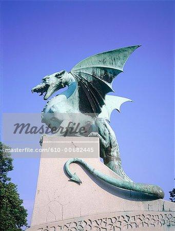 Slovenia, Lubiana, the flying lizards bridge, detail