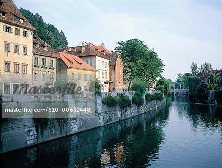 Slovénie, Ljubljana, abrite le long du fleuve de Ljubjanica