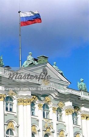 Drapeau russe Russie, Saint-Pétersbourg, le Palais d'hiver