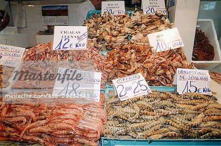 Espagne, Andalousie, Cadix, marché aux poissons.
