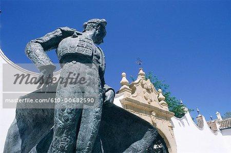 Spain, Andalusia, Ronda, plaza de Toros, statue of famous matador Ordenez