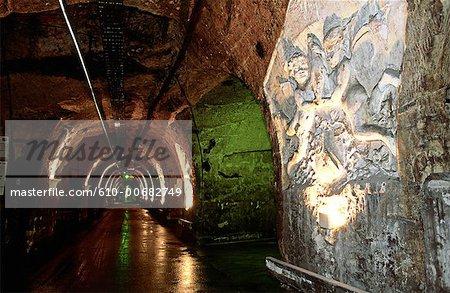 France, région Champagne, Epernay, sculpté de mur
