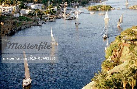 Egypt, cruise on the Nile, feluccas.