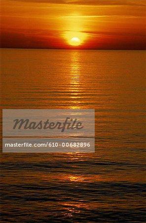 Mer Méditerranée France, Provence, coucher de soleil