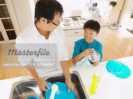 Man and Boy Washing Dishes
