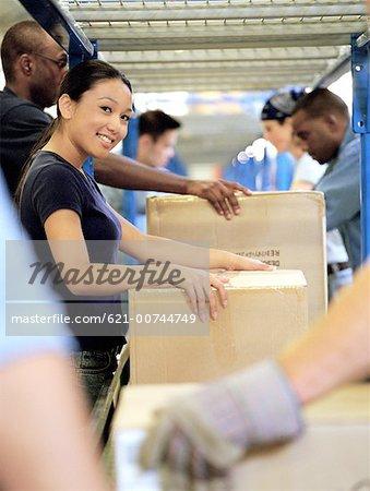 Workteam at the conveyor belt