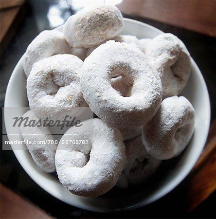 Pulverförmige Donuts