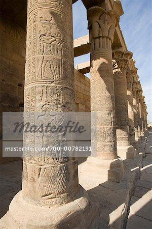 Pillars, Temple of Philae, Egypt