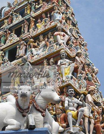 Vue du Temple de Sri Mariamman hindou, Singapour
