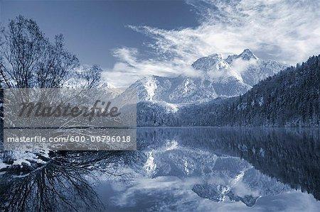Fuessen Reflected in Lake Schwansee, Bavaria, Germany
