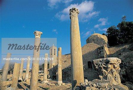Cyprus, Paphos, Chryssopolitissa church and the pillars of Saint Paul.