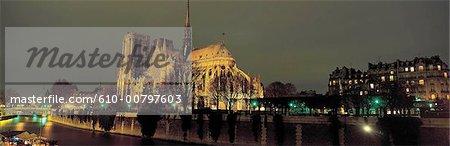 France, Paris, notre-Dame de Paris de nuit