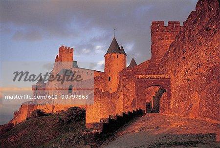 France, région Champagne, Carcassonne au coucher du soleil