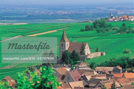 France, Alsace, Hunawihr, église et du village