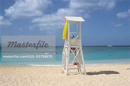 Jamaïque, plage, sauveteur