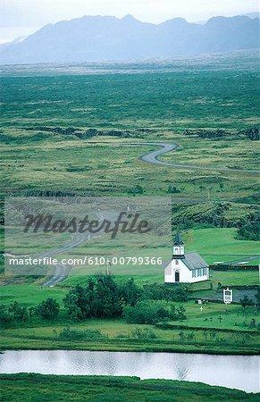 Vue générale de Thingvellir, l'Islande, de la vallée