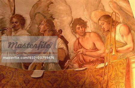 Italie, Rome, l'église de San Gregorio, fresque : anges musiciens