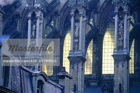 France, détail cathédrale, de style gothique champenois, Reims,