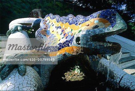 Spain, Barcelona, Park Guell, fountain of the Salamander