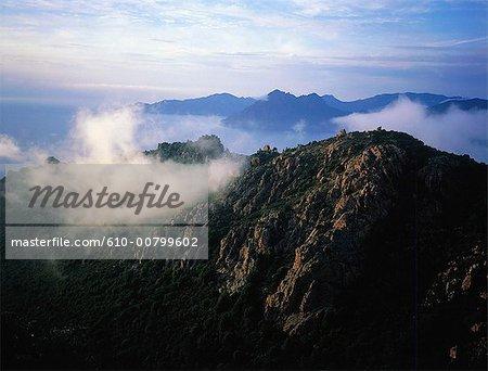 France, Corsica, Calanques de Piana in the mist