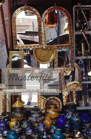 Morroco, Marrakech, medina, mirrors and pottery