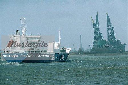 Les pays-bas, la Hollande-méridionale, Rotterdam, port, cargo et grues