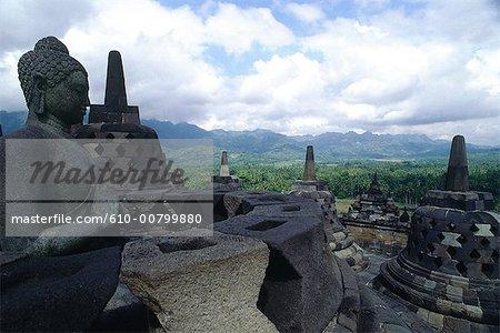 Java, en Indonésie, temple de Boroboudour.