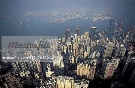 Chine, Hong Kong, vue aérienne