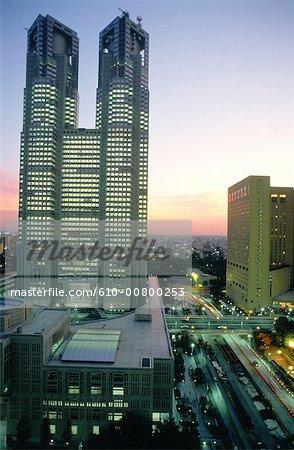 Japan, Tokyo, Shinjuku, city hall, Kenzo Tange arch.
