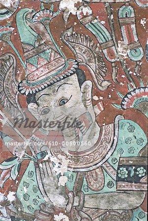 Temple de Myanmar, Bago, Shwe Tha Lyaung, peintures
