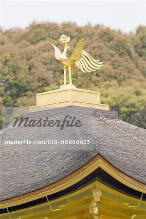 Japon, Kyoto, le pavillon d'or, le gros plan du toit