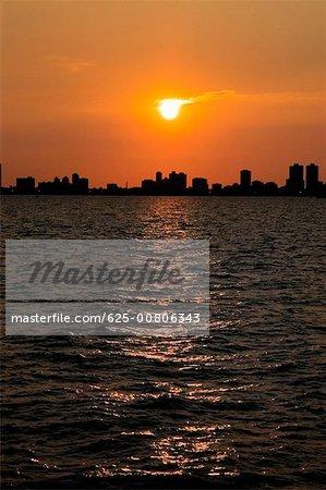 Sunset over the sea, Chicago, Illinois, USA