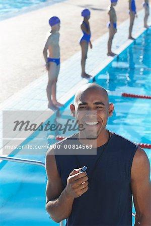 Portrait de l'entraîneur de piscine