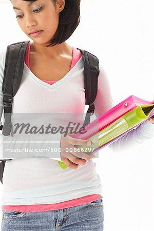 Portrait of Girl Wearing Backpack