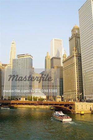 Tourists on a ferry in a lake, Lake Michigan, Chicago, Illinois, USA