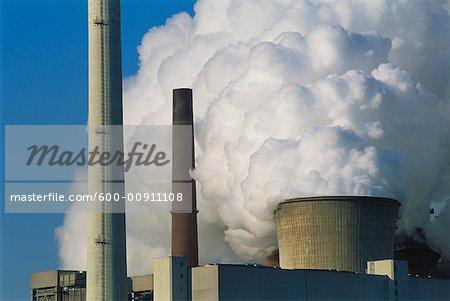 Cheminées à la centrale électrique, Allemagne