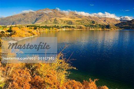 Overview of Lake and Mountains, Lake Wanaka, Wanaka, Otago, South Island, New Zealand