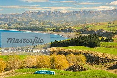 Kaikoura South Bay et au large éventail, Kaikoura, Canterbury, South Island, Nouvelle-Zélande