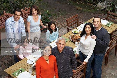 Family Having Dinner Outdoors