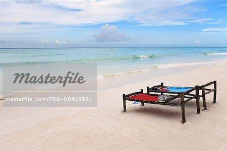 Beds on Beach, Kiwengwa Beach, Zanzibar, Tanzania