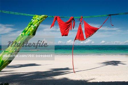 Clothing on Line at Beach, Kiwengwa Beach, Zanzibar, Tanzania