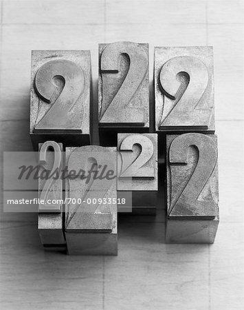 Numeral 2 Typesetting Blocks