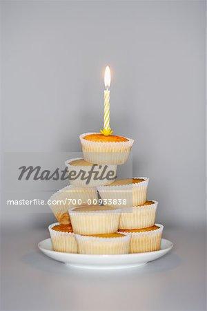 Cupcakes mit Geburtstag Kerze