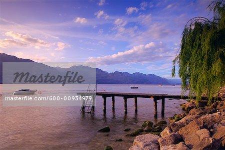 Dock and Boat on Lake, Lago di Garda, Italy