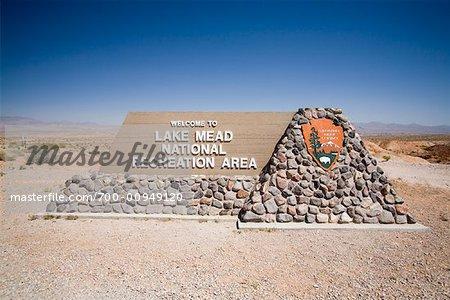 Signe au Lake Mead National Recreation zone, Nevada, Etats-Unis